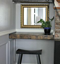 DIY Distressed Floating Wood Shelf - you would never guess that is a thin piece of wood made to look 4 inches thick! Love this!