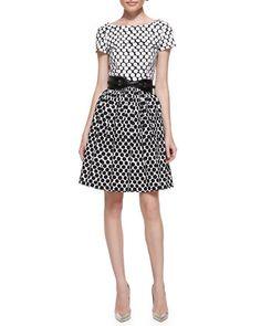 Short-Sleeve Polka-Dot Contrast Dress & Contoured Belt by Oscar de la Renta at Neiman Marcus.