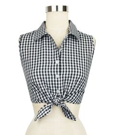 Black Gingham Dolly Tie Top - 100% Cotton - Size 10