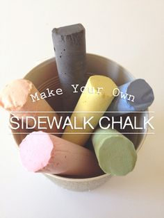 Make Your Own Sidewalk Chalk! - Gather your materials: Tempera Paint (use primary,and mix secondary colors) - Plaster of Paris - Water - Wrapping Paper Tubes or aluminum foil, plastic wrap - Wax Paper - Masking Tape - Sandwich baggies (for piping bags) - Scissors
