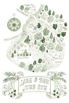 A wedding invitation hand drawn in green ink published in Thames and Hudson's 'Hand Drawn Maps - a guide for creatives'. 2017