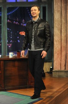 Justin Timberlake Leather Jacket - Justin Timberlake traded in his suit and tie for this black leather jacket on an appearance of 'Late Night with Jimmy Fallon.'