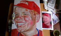 Client hired Trace to paint a sports picture of client's son.