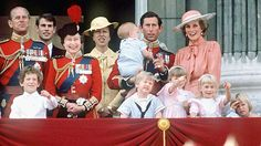 Photo by unknown in 1985 of Queen Elizabeth II & Prince Philip in uniform with Princess Diana with & other members of the royal family on the balcony at Buckingham Palace for Trooping the Color in London, UK.