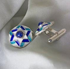Star of David Cufflinks Judaica Jewelry Sterling by enameljewelry