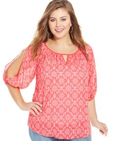 Eyeshadow Plus Size Printed Cutout Blouse