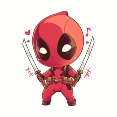 Deadpool Kawaii, Cute Deadpool, Deadpool Chibi, Deadpool X Spiderman, Chibi Marvel, Deadpool Wallpaper, Marvel Wallpaper, Cartoon Wallpaper, Funny Kermit Memes
