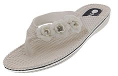 Chatties Womens Dressy Floral Flip Flops White Medium 78 * Read more reviews of the product by visiting the link on the image.