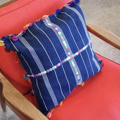 """Indigo Blue Pillow Cases with Embroidery & Tassels, 18"""""""