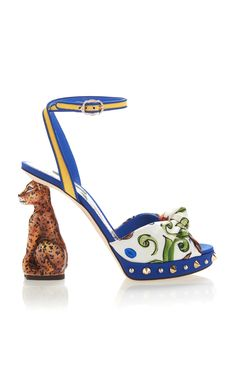 0314bf2cd205df Printed Crepe Sandals With Sculpted Heel by DOLCE  amp  GABBANA Now  Available on Moda Operandi