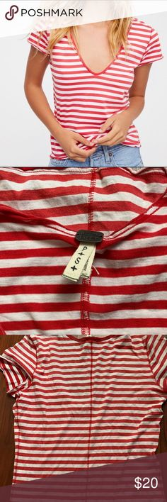 b19c2c48da4ce Free People Striped Red White Top Free People We The Free Striped Red White  Short Sleeve T-Shirt Top Size Small Free People Tops Tees - Short Sleeve