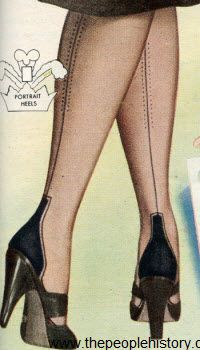 """Portrait Heel Nylons  1953 Price: $5.00  Glamorous French heel with slenderizing """"frame"""" pays extra complements to her pretty ankles. Full fashioned."""