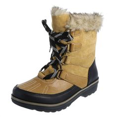 """Combat the elements this season with the Sleigh Weather Boot from Rugged Outback! It features a combination upper with micro suede, lace up design, ankle pull tab for easy on/easy off, faux fur trim, soft lining, padded insole, 1"""" heel, and a sturdy outsole. Special features allow feet to stay dry and warm in temperatures as low as -4ºF (-20ºC). Manmade materials."""