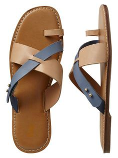 Leather color-blocked sandals
