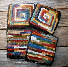 Wool mug rug coasters made out of scrappy wool worms. A simple design perfect for holding a hot mug of cocoa on a cold winter's day! Qu...