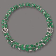 ART DECO EMERALD AND DIAMOND NECKLACE/BRACELET, FRENCH, CIRCA 1930