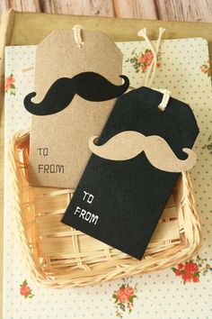 kawaii 2pc MOUSTACHE Gift Tag 2 designs/pk apron Gift Tags kraft mustache tags