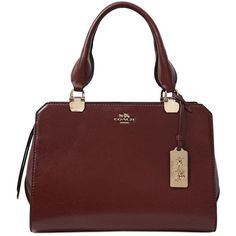 COACH Mini Lex Shiny Leather Shoulder Bag - Brown ($355) ❤ liked on Polyvore featuring bags, handbags, shoulder bags, brown, genuine leather handbags, red purse, mini shoulder bag, red handbags and red leather purse