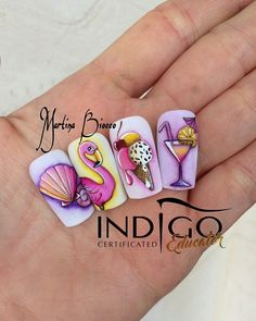 Make an original manicure for Valentine's Day - My Nails Beach Nail Designs, Acrylic Nail Designs, Nail Art Designs, Acrylic Nails, Nails Design, Uñas One Stroke, Sea Nails, Manicure, Vacation Nails