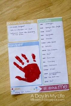 Maybe a new tradition for every year??? A Day In My Life: Birthday Interview. I like that its simple questions, like the handprint too. And this idea could be used for all ages - NOT just kindergarten! by ava