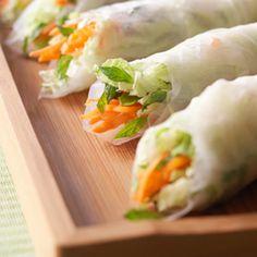 Thai Salad Rolls with peanut sauce. Super Bowl Party | Super Bowl Recipes | Hallmark