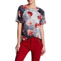 Cooper & Ella Print Hi-Lo Blouse (410 SEK) ❤ liked on Polyvore featuring tops, blouses, polkadot floral print, floral print tops, red polka dot blouse, red blouse, short sleeve blouse and red polka dot top