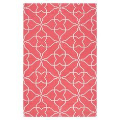 We love the bright coral hue and graphic pattern of this handwoven wool rug. | from $12