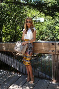 J.Crew scroll print skirt, Theory top, Karen Walker sunglasses