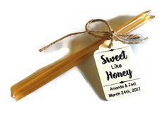 Sweet like honey party & wedding favors. Customize with names and wedding date. Many tag color choices to choose from! Teal, mint, kraft, ivory, white, Tiffany blue, and more.