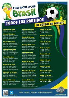 Calendario completo Mundial Brasil 2014. Múltiples pantallas + 1 gigante.Ofertas a discrección en Flaherty's Zaragoza.