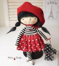 Купить Кукла и Брошь Парижанка с собачкой Кукла текстильная - кукла текстильная купить