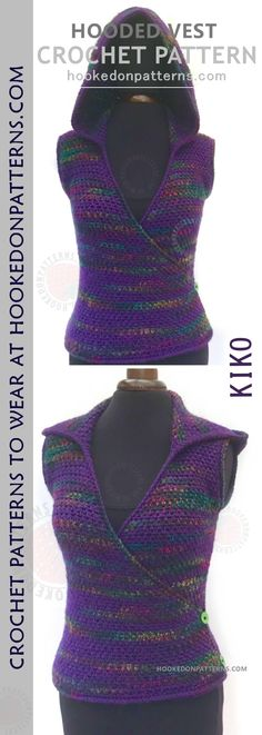 Hooded Vest Crochet Pattern - This is a fun and cosy body-warmer style crochet pattern. A Hooded sleeveless top crochet pattern.