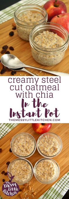 Instant Pot Creamy Steel Cut Oatmeal with Chia – an easy recipe for smooth and creamy steel cut oats cooked in an electric pressure cooker. Steel cut oats are a hearty breakfast that is gluten free, uses whole grains, and you can top it off with your favourite berries, seeds, maple syrup and nut butters!
