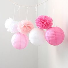 HoHoDeal 9PCS Mixed Pink Fuchsia White Tissue Paper Pom Poms and Paper Lantern Wedding Party Hanging Decoration *** You can find out more details at the link of the image.Note:It is affiliate link to Amazon.