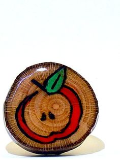 Apple Wood Burned Ring with Red and Green Colored by LadyDryad, $14.30