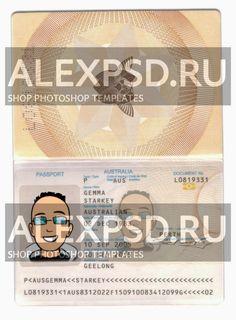 Australia 1 passport - ALEXPSD Passport Template, Psd Templates, Photoshop, Australia, Names