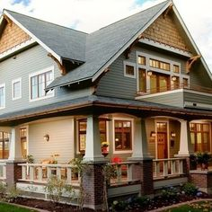 Craftsman style house - wrap around porch  balcony; craftsman style homes are my absolute favorite. gorgeous