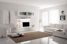 Beautiful Modern Living Room Wall Units Entertainment with White Painted Ideas