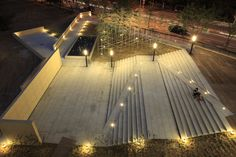 Gallery of Gwangju Biennale Support Center / IROJE Architects & Planners - 11 Landscape Stairs, Landscape Lighting, Urban Landscape, Landscape Design, Gwangju, Architecture Details, Landscape Architecture, Ramp Design, Plaza Design