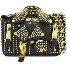 MOSCHINO Biker jacket leather bag ($1,560) ❤ liked on Polyvore featuring bags, handbags, shoulder bags, chain handbags, real leather handbags, studded leather purse, genuine leather handbags and studded handbags