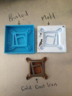 Logo Creative Process. 3D Print, Mold, Cold Cast Iron.