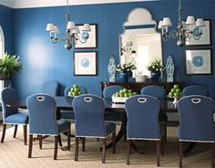 LOVE LOVE LOVE this all blue dining room