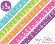 Clipart Nautical Anchors Ribbon Borders 45 Colors Vector EPS Included Commercial Use Clipart SALE