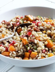 Warm pumpkin and pearl barley—tossed with toasted pecans, pomegranate and a soja-orange sauce—is a classic. Barley makes this fall salad hearty and substantial enough to serve as a main dish, perfe…