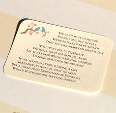 Wedding Invitation With Monetary Gift Wording