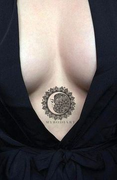 Cool Black Tribal Mandala Sternum Tattoo Ideas for Women - Sacred Geometric Moon Clevage Tat for Teen Girls - www.MyBodiArt.com #tattoos