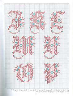 < Cross-stitch Alphabets Christmas, part no color chart use pattern chart as your guide. Christmas Cross Stitch Alphabet, Cross Stitch Alphabet Patterns, Embroidery Alphabet, Cross Stitch Letters, Stitch Patterns, Quilt Stitching, Cross Stitching, Cross Stitch Embroidery, Machine Embroidery