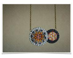 Ø declaración collar Tribal bordado geométrico de mano ø
