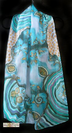 Silk painted scarf,Gift for women,100% silk shifon,stripes,floral long scarf,blue-green-veronese stylized trees scarf,FilkinaScarves  Hand painted