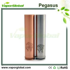 Pegasus Mod 1.510 threading connection 2.Brass contacts 3.Adjustable positive battery contact 4.Bottom spring-loaded firing button, with a reverse-threaded locking ring 5.With logo engravings on the tube and the bottom 6.Houses single 18650 battery (batte